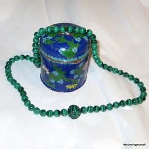 Malachite Stone Bead Necklace Carved Center Stone
